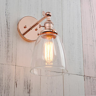 Modern Vintage Filament Wall Light Sconce Lamp Glass Shade Integrated Switches