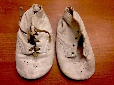 Antique 1940's White Leather Baby Shoes! Oddity Vintage Mid Century Goth Collect