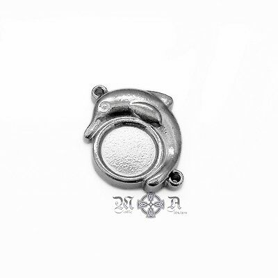 5 x Stainless Steel Dolphin Connectors w/ 8mm Round Cabochon Setting