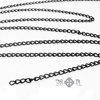 5m x Jet Black Plated Iron Curb Chain - Open Links 5mm x 3mm x 1mm