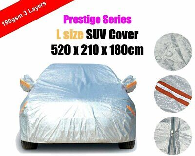 L 3 Layers Car Cover with Zipper SUV Aluminum Rain Dust UV Protection