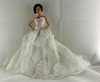 White Floral Wedding Dress with a long train with Veil and Gloves