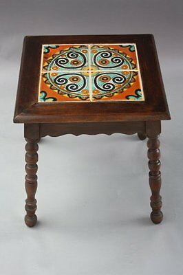 1920s Beautiful Tile Table Spanish Revival Drink Stand Tudor Tiles Wood (7615)