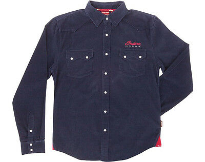 Indian Motorcycle Navy Blue Pincord Shirt Mens Casual Chief Scout M L Xl 2Xl