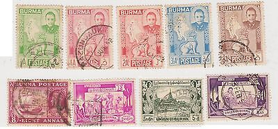 (JM-42) 1948-9 Burma mix of 14stamps ½A to 1R