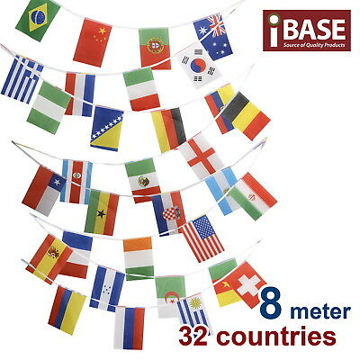 8m 32 Country Toothpick Banner String Bunting Party International World Flag