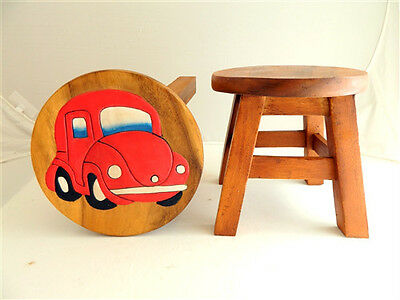 Childs Childrens Wooden Stool - Red Car Step Stool