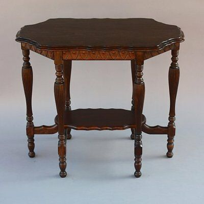 1920s Antique Side Table w Shelf Beautiful Carved Wood Spanish Revival (7575)