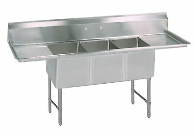 (3) Three Compartment Commercial Stainless Steel Sink 84 x 25.5