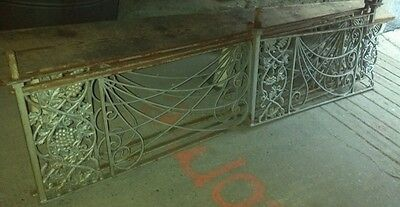 Reclaimed vintage Iron railings 22 ft.  4 pieces. Cast iron decorative pattern.