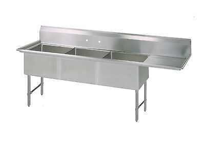(3) Three Compartment Commercial Stainless Steel Sink 74.5 x 23.5
