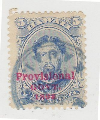 (JN-104) 1893 Hawaii 5c king LAMEHAMCHA O/P provisional Government