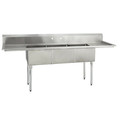 (3) Three Compartment Commercial Stainless Steel Sink 75 x 20.8 G