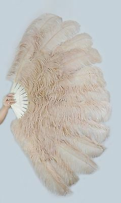 """Large 2 layers 34""""x 60"""" Beige Camel Ostrich Feather fan Burlesque with gift box"""