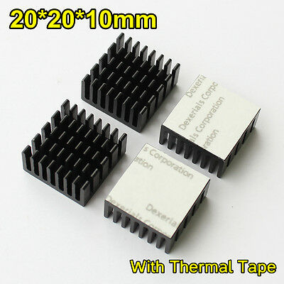 10pcs 20x20x10mm Black Anodized and Slotted Aluminium Heatsinks With Thermal Pad