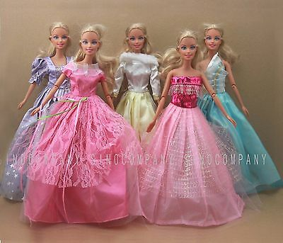 5Pcs Fashion Handmade Party Dress Clothes Gowns Outfit For Barbie Doll Girl Gift