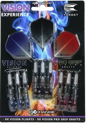Target Darts Vision Stems and Flights Retail Flight Pack 3 Sets of Each