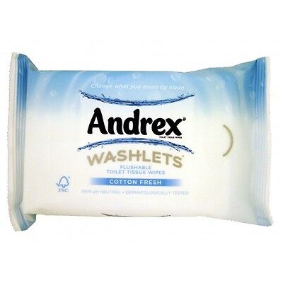 Andrex Washlets Flushable Toilet Tissue Paper Cotton Fresh Wipes 8 packs New