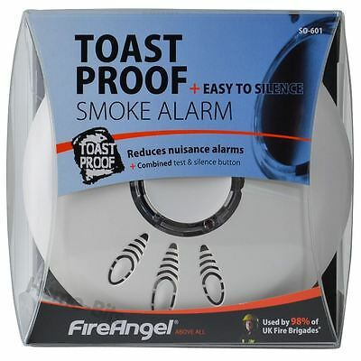 Fireangel SO-601 Toast Proof Optical Smoke Alarm Detector with Hush & Battery