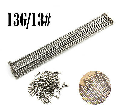 10PCS 13G 2.2mm Stainless Steel Bike Bicycle Spoke Spokes + Nipple J bend Silver