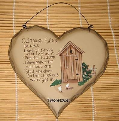 OUTHOUSE RULES pRiMiTiVe VINTAGE BATHROOM SIGN Decor Chicken - $3.95 ...
