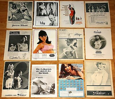 SEXY 12x ADS 1960s Original Adverts AD models bra vintage magazine clippings
