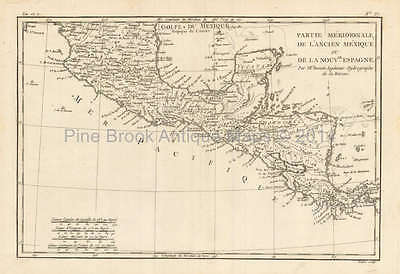 South Mexico Antique Map Bonne 1780 Original