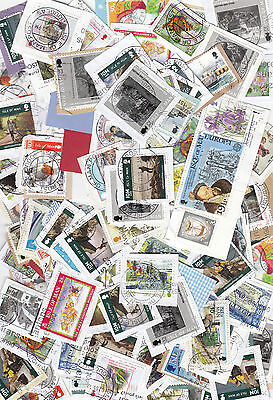 Jersey Guernsey & Isle of Man used stamps on paper, Kiloware