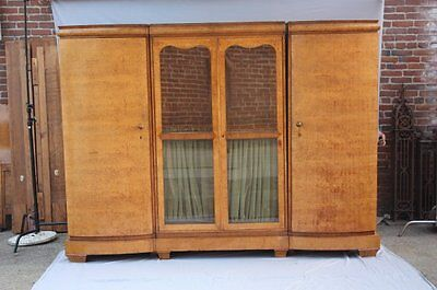 1930s Art Deco Three Part Wardrobe Burled Wood Nouveau Cabinet Vintage (7452)