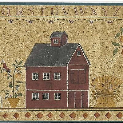 Country Folk Art ABC Stencil Colonial House - ONLY $8 - Wallpaper Border A170