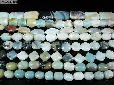 "Natural Colorful Amazonite Gemstone Beads 16"" Nugget Coin Rice Square Rectangle"