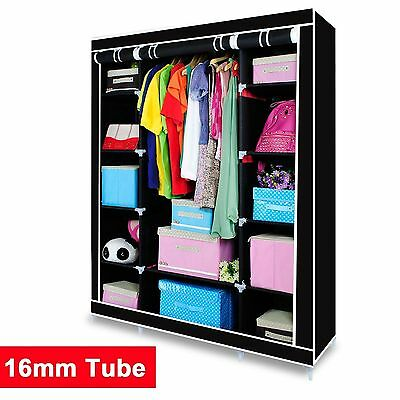 Jumbo Triple Canvas Clothes Wardrobe Cupboard Hanging Rail With Storage Shelves