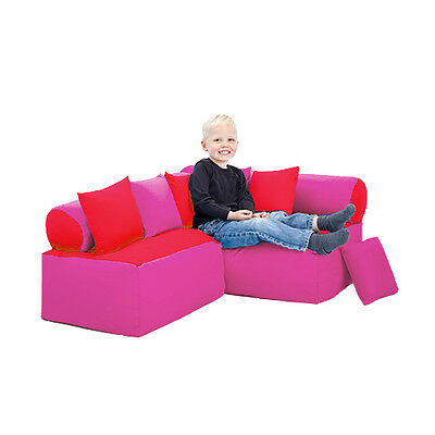 Red & Pink Children's Reading Corner Soft Play Nursery Seating Kids Sofa Cushion