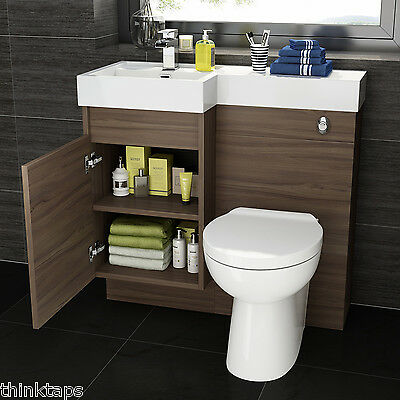 Complete Bathroom Suite With Walnut Basin Vanity Unit And Btw Toilet
