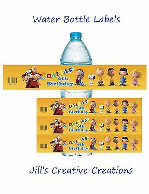 Charlie Brown Water Bottle Labels, Snoopy, Peanuts Birthday, Birthday