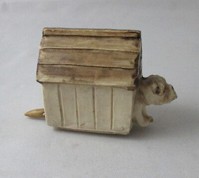 Porcelain DOG & his HOUSE TAPE MEASURE; Antique c1900's NOVELTY