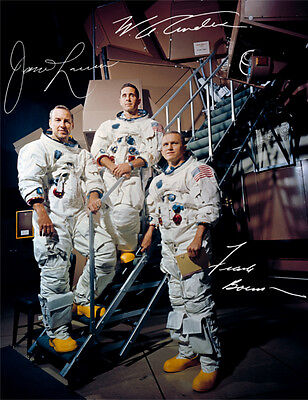 APOLLO 8: JAMES LOVELL, FRANK BORMAN, WILLIAM ANDERS, Repro-Autogramm, 20x26 cm