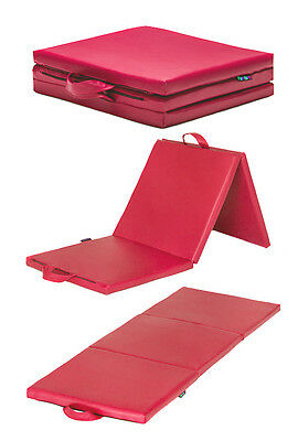 "Pink 6ft Folding 2"" Thick Gym Mat Exercise Yoga Foam Gymnastics Pilates Play"