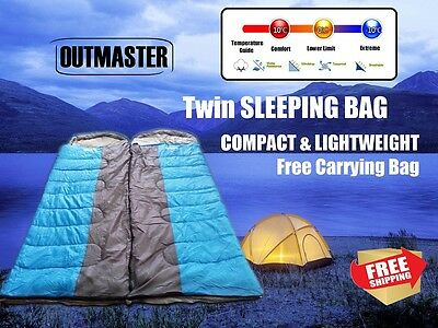 Twin Outdoor Camping Double Sleeping Bag Tent Hiking Compact Softer -10°C 300G/M