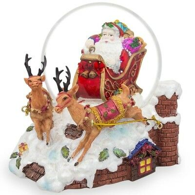 """6"""" Santa Sleigh and Reindeers Deliver Christmas Gifts Music Snow Globe"""