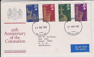 (JO-60) 1978 GB FDC 4 stamps 25th anniversary of the Coronation (60BG)