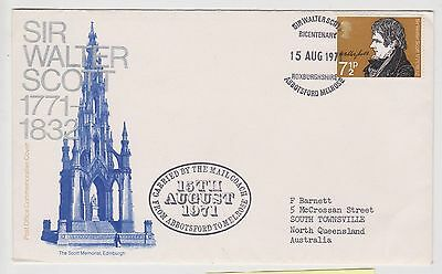 (JO-59) 1971 GB FDC 7½p Sir Walter Scott used (59BF)