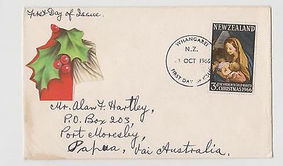 (JO-24) 1966 NZ FDC 3d Christmas used (24X)