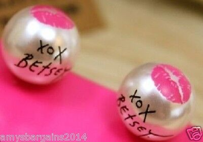"Signature Betsey Johnson XOX Faux Pearl Stud Earrings ""Marilyn Collection"" SWAK"