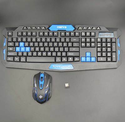 HK8100 Optical Wireless Keyboard and Mouse Keyboard Colour Black + Blue
