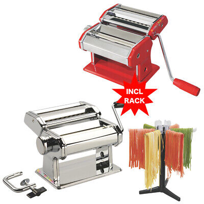 New Avanti S/s Pasta Making Machine Adjustable 150Mm + Drying Rack Select Colour