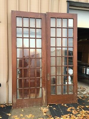 Pd 2 One Pair Antique French Doors Pine With Wood Grain  Oversize