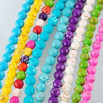 Howlite Turquoise Gemstone Round Faceted 6mm Loose Spacer Beads 15.5'' MBG170