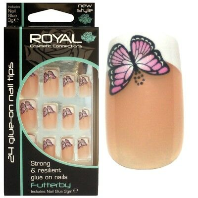 24 faux ongles & colle french manucure papillons french manicure nails butterfly
