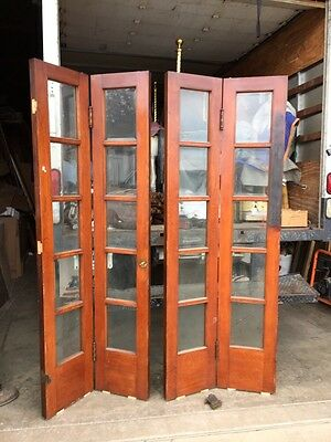 One Pair Antique 5 Foot Wide Beveled Glass Bifold Doors